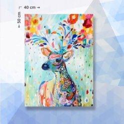 Diamond Painting pakket Kleurig Hert met Bloemen - 40 x 50 cm - ronde steentjes