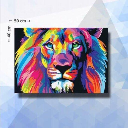 Diamond Painting Pakket kleurrijke Leeuw - 50x40cm - ronde steentjes
