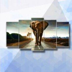 Diamond Painting pakket Olifant op weg 5-luik - 100 x 55 cm - vierkante steentjes