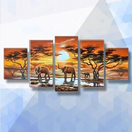 Diamond Painting pakket Olifanten bij zonsondergang 5-luik - 100x55 cm - vierkante steentjes