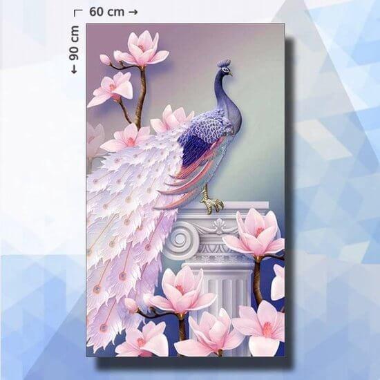 Diamond Painting pakket Pauw met bloesem - 90 x 60 cm - ronde steentjes