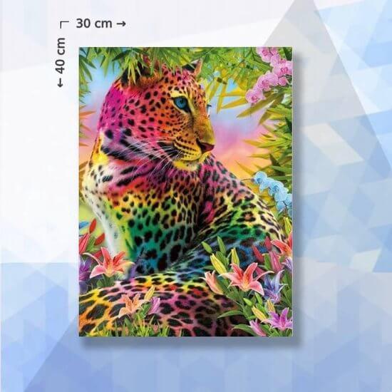 Diamond Painting Pakket Regenboog panter - vierkante steentjes - 40 x 30 cm