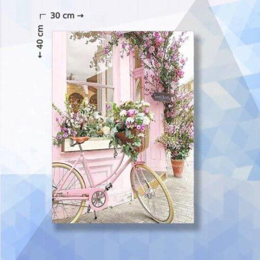 Diamond Painting pakket Roze Bloemen fiets - 30 x 40 cm