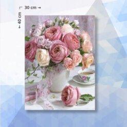 Diamond Painting pakket Roze en Witte Rozen - 40x30cm - vierkante steentjes
