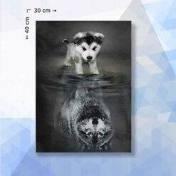 Diamond Painting pakket Spiegelbeeld Wolf - 30 x 40 cm - vierkante steentjes