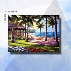Diamond Painting pakket Strand met palmen - 35x45cm - vierkante steentjes