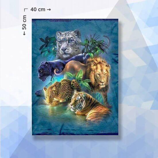 Diamond Painting pakket Katachtigen in Jungle - 40 x 50 - ronde steentjes