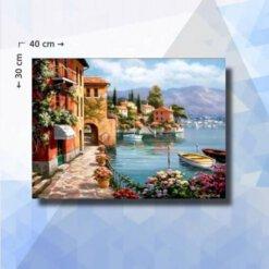 Diamond Painting pakket Vakantie aan Zee - 30 x 40 cm - vierkante steentjes