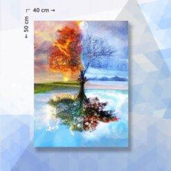 Diamond Painting pakket Vier Seizoenen Boom - 40 x 50 cm - vierkante steentjes