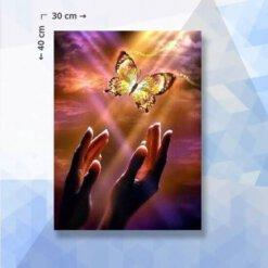 Diamond Painting pakket Vlinder uit handen - 30 x 40 cm - ronde steentjes