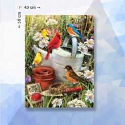 Diamond Painting pakket vogels in de tuin - 50 x 40 cm - vierkante steentjes