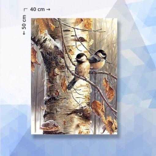 Diamond Painting pakket Vogels op tak - 40 x 50 cm - ronde steentjes