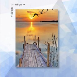 Diamond Painting pakket Zee en Zonsondergang - 40 x 40 cm - vierkante steentjes