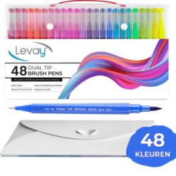 Brush Pennen - 48 stuks - Incl. Aquarel Papier en Sjablonen - Double Tip Penseelstift - Fineliners en Brushlettering