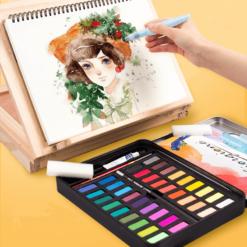 Aquarelverf Set – 36 Kleuren - Inclusief 3 Water Brush Pennen en Aquarelpapier